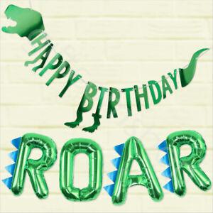 Dinosauro-Dino-Festa-Bandierine-Banner-Per-Bambini-Festa-Di-Compleanno-Decorazioni