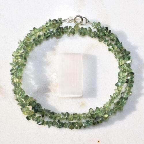 """CHARGED Rare Dark Green Apatite Crystal 18/"""" Necklace Healing Energy REIKI WOW!!!"""