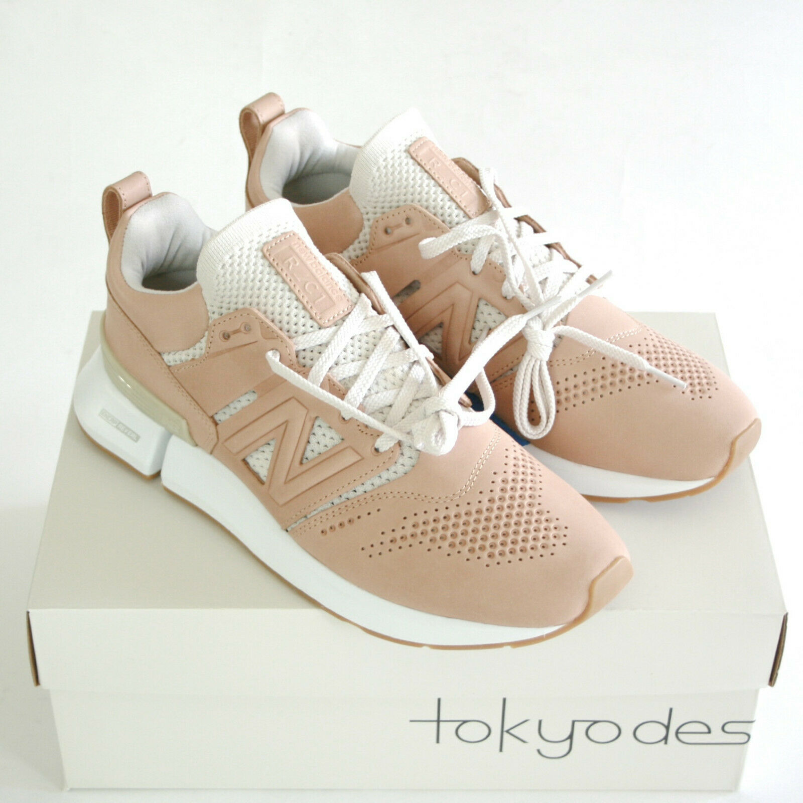 NEW BALANCE X Tokyo Design Studio nude cuir R_C1 chaussures Cut Out Baskets 44 NEUF