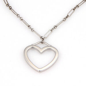 d91d6badcde Tiffany   Co. 18K White Gold Chain Link Medium Open Heart Pendant ...