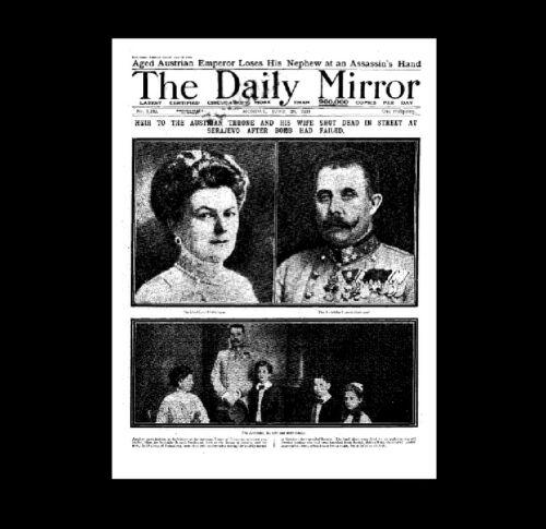 Dollshouse Miniatura periódico-Daily Mirror-asesinato en Sarajevo