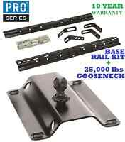 99-15 Chevy Silverado 1500 2500 3500 Base Rail Kit & 25k Gooseneck Trailer Hitch