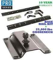 99-15 Chevy Silverado 1500 2500 3500 Base Rail Kit & 25k Gooseneck Trailer Hitch