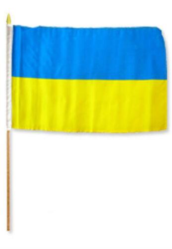 """12x18 12/""""x18/"""" Ukraine Stick Flag wood Staff"""