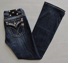 "Miss Me Jeans 29 34"" Boot Cut Flap Pocket Dark Thick Stitch Bling Denim FLAW"