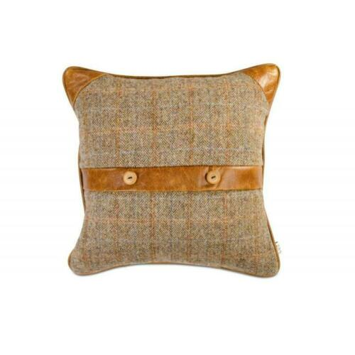 Harris Tweed Coussin Décoratif GARDE-CHASSE /& Brown CERATO Aniline Cuir