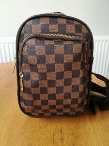 976c7458cd Image is loading New-Ladies-Girls-Monostrap-Backpack-Brown-Check-Designer-