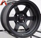 15X7 ROTA GRID-V WHEELS 4X100 BLACK RIMS ET20MM FITS CIVIC INTEGRA DELSO CRX