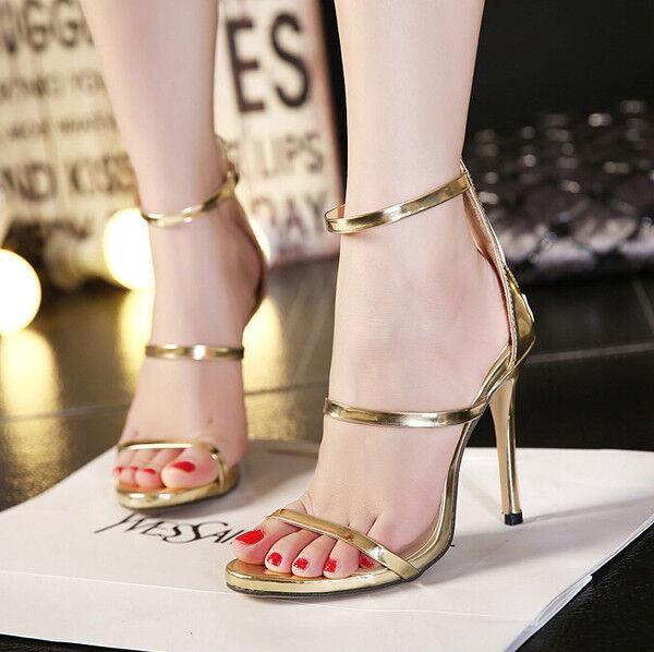 Seali donna comodi eleganti stiletto alti 11 cm oro oro fascia lacci CW895