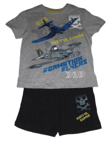 Boys Shorts /& T-Shirt Set Outfit 2 Piece Official Disney Mickey Mouse Or Planes
