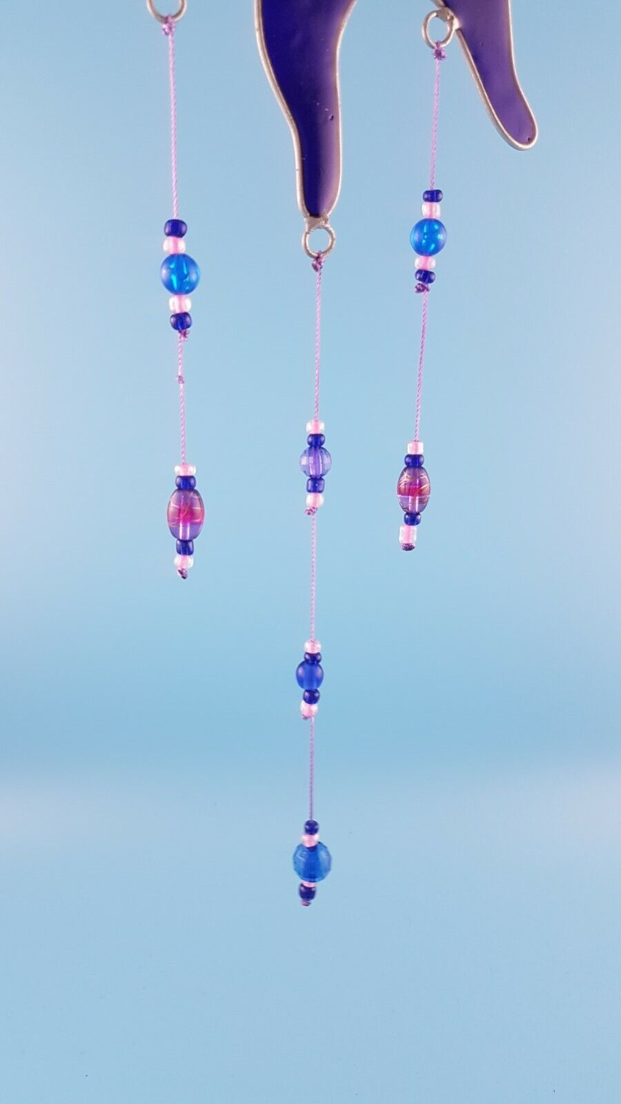 Purple and blue sun with beads sun catcher stained glass effect garden gift