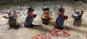 🟢  Easter Bunny/Various Mini Figurines Ornaments, Resin. Lot of 5. Pre-owned.