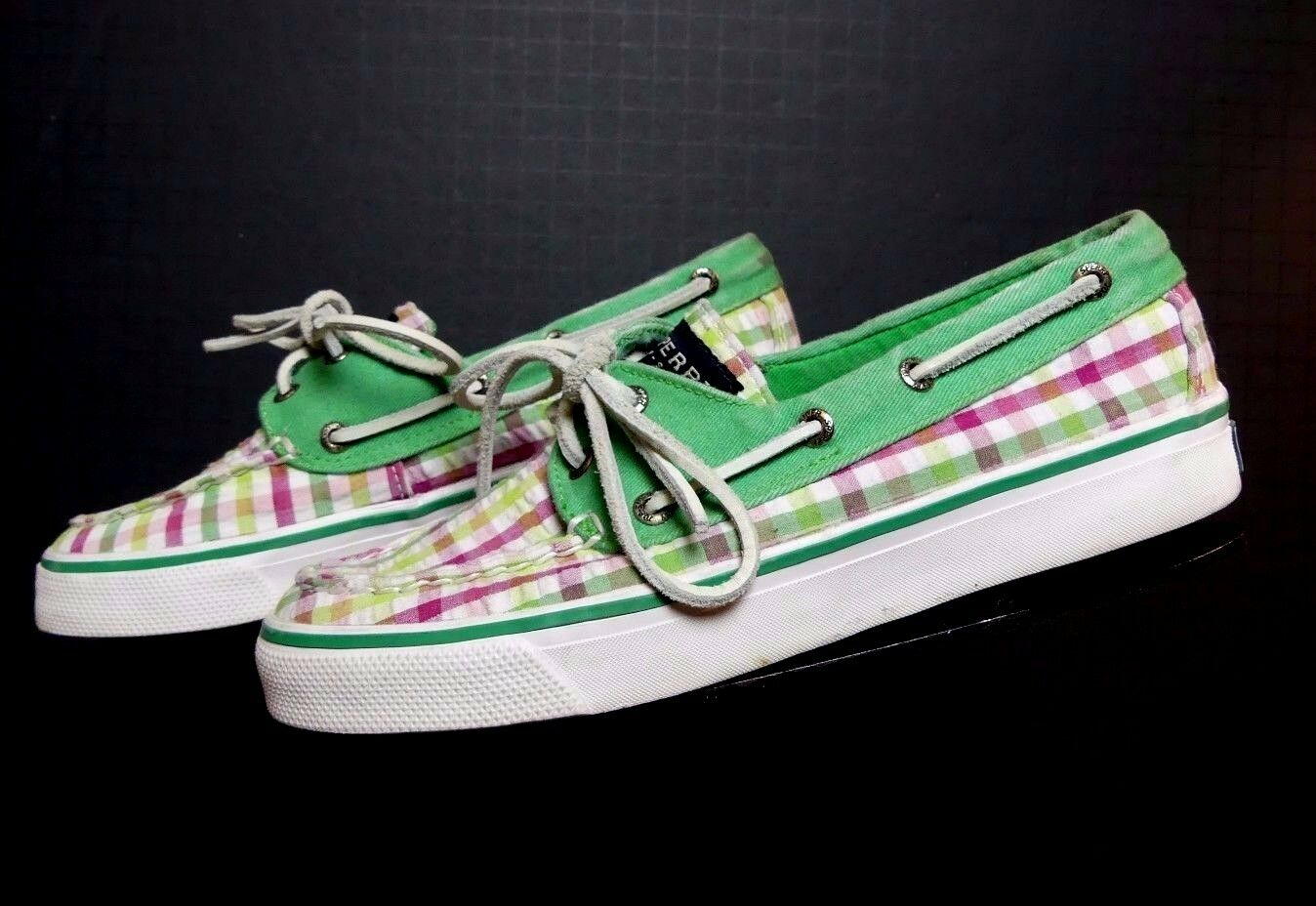 Women's Sperry Top-Sider Muti-color Madras Canvas Classic Boat shoes Sz.6.5 MINTY