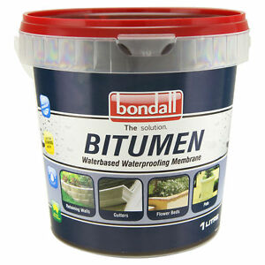 1l trade quality bitumen rubber paint polymer membrane waterproofing pond walls ebay - Waterproofing paint for exterior walls collection ...