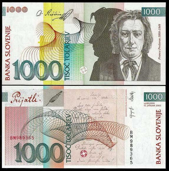 SLOVENIA 1000 Tolarjev 2003   - UNC  - Pick 32a
