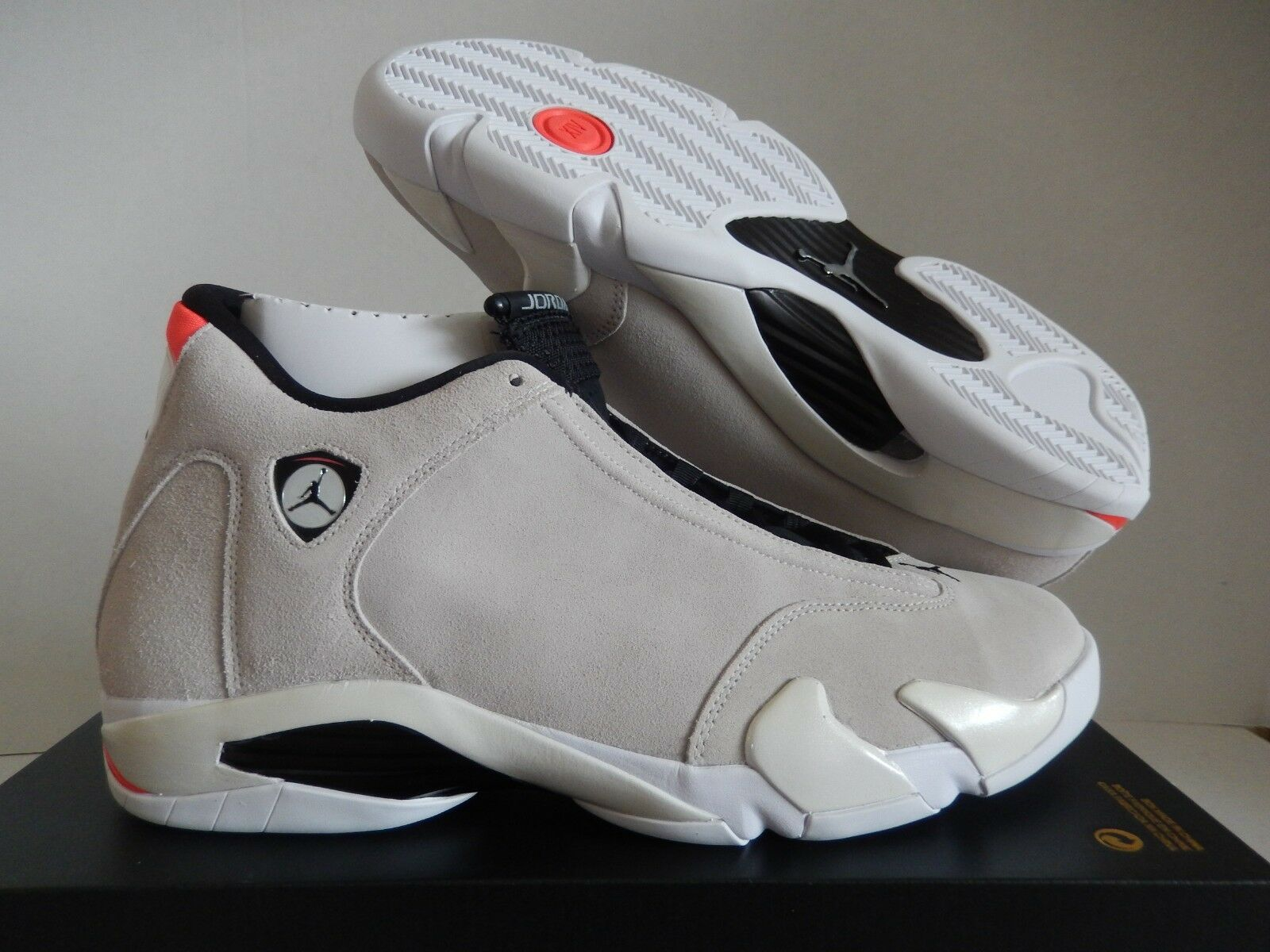 NIKE AIR JORDAN 14 RETRO DESERT SAND-BLACK-WHITE SZ 14 [487471-021]