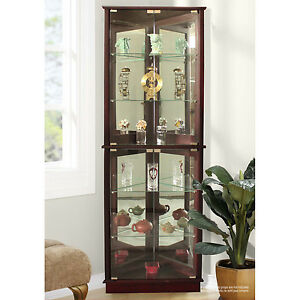 corner curio cabinets display case with glass doors lighted mirrored china dish ebay. Black Bedroom Furniture Sets. Home Design Ideas