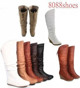 Womens-Flat-Wedge-Round-Toe-Zipper-Lace-Mid-Calf-Knee-High-Boot-Shoes-Size-5-10