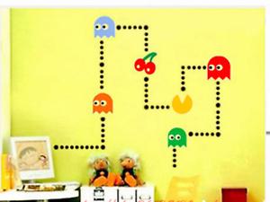 Pacman Stickers Wall Art Decal Garçons Enfants Chambre À Coucher Rétro Jeu vinyle murale Décoration