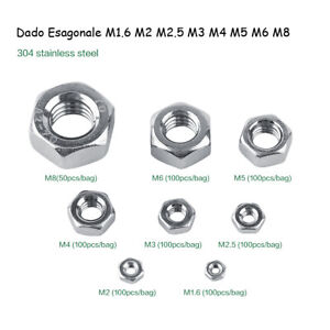50-100Pz-Viti-Dadi-Esagonali-M1-6-M2-M2-5-M3-M4-M5-M6-M8-Acciaio-Inox-Hex-Nuts