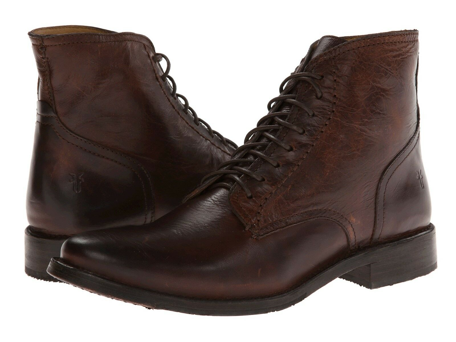 Mens Frye Boots Oliver Lace Up Dark Brown Leather 87856 DBN