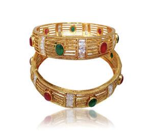 Indian-Ethnic-Women-Gold-Tone-Kada-Bridal-Bangles-Bracelets-Wedding-Set-Jewelry