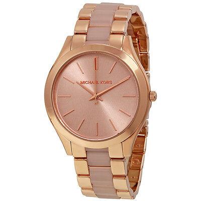 Michael Kors Slim Runway Rose Dial Rose Gold-tone Ladies Watch MK4294