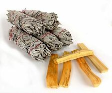 "5 White Sage Smudge Sticks 5"" & 5 Palo Santo Wood 3"" Cleansing Remove Negativity"