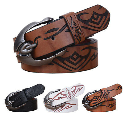 Fashion Mens Genuine Leather Belt Casual Pattern Waistband Metal Buckle Belts