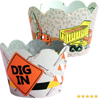 Construction Theme Cupcake Wrappers, Excavator Dump Truck Birthday Decorations,