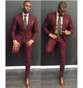 Burgundy 3 pieces wedding tuxedos slim fit suits for men groomsmen image is loading burgundy 3 pieces wedding tuxedos slim fit suits junglespirit Images