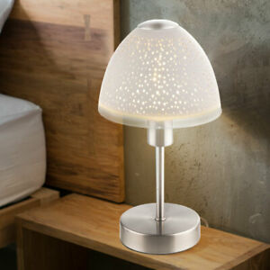 Nacht Tisch Lese Lampe Leuchte Silber//Rauchglas Wohn Schlaf Zimmer Beleuchtung