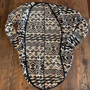 Umgee-Medium-Open-Front-Tribal-Aztec-Kimono-Cardigan-Boho-Black-White-Geometric