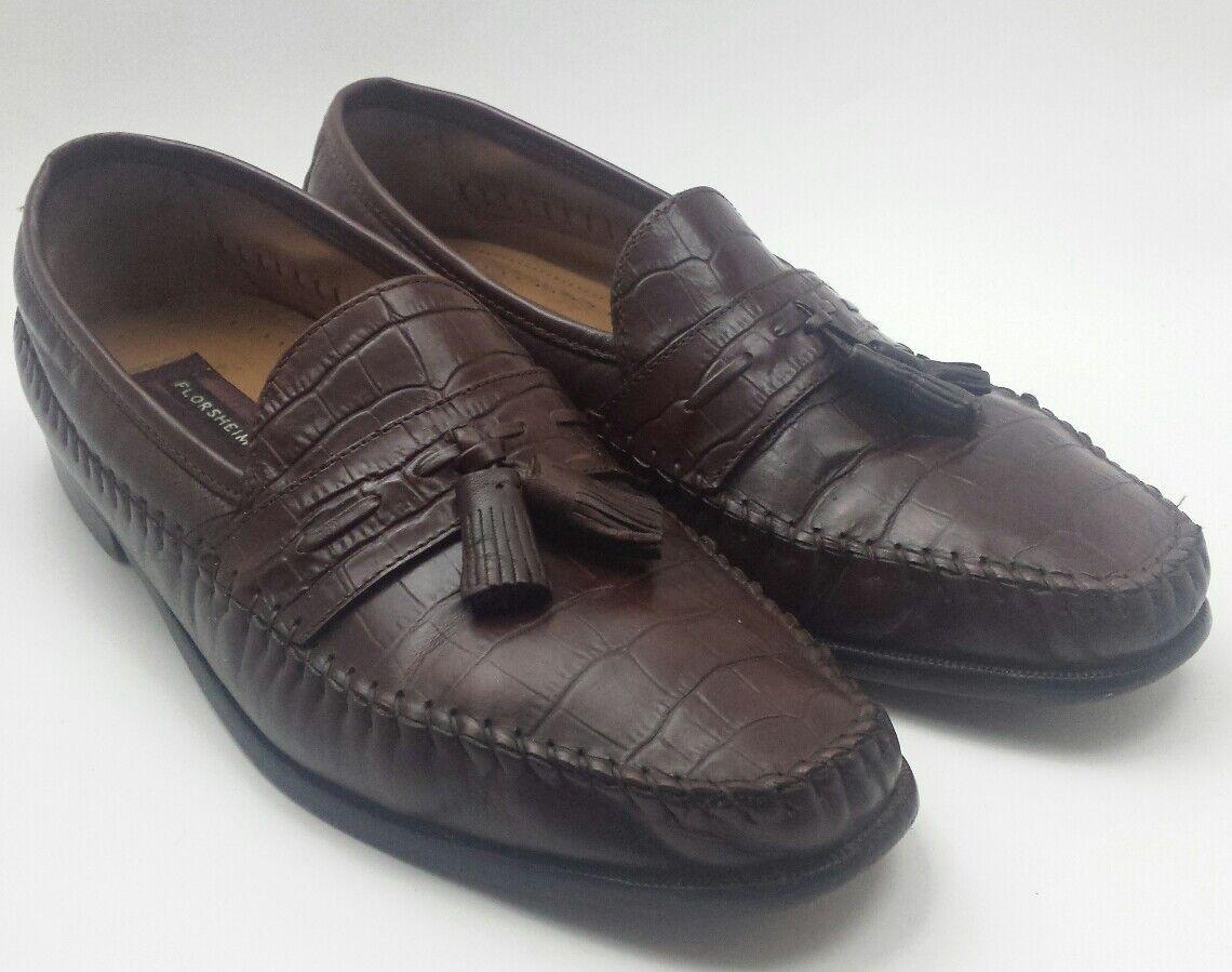 Florsheim Mens Pisa Brown Leather Croc Print Pinch Moc Toe Tassel Loafers 11 D