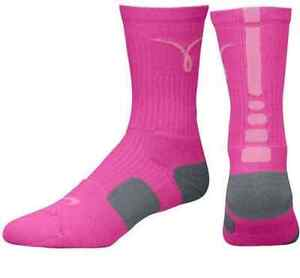 4108ab511595e Details about Nike Elite Basketball Crew Socks - Breast Cancer Awareness -  Pink Grey