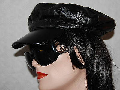 Versace Womans Leather Cap Hat Small  0460ca3a97d