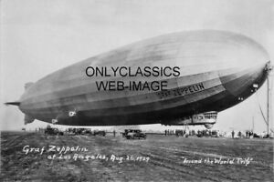 1929-GRAF-ZEPPELIN-AIRSHIP-ROUND-THE-WORLD-FLIGHT-8X12-PHOTO-LOS-ANGELES-CALIF