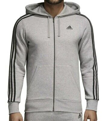 Adidas Essentials Men's 3 Stripes Fleece Hoodie, Medium Grey