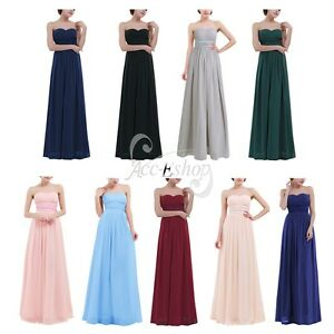 Long-Ball-Gown-Chiffon-Maxi-Evening-Cocktail-Party-Prom-Bridesmaid-Women-039-s-Dress