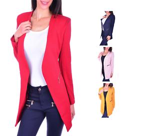 AO Kragenloser Long Blazer Zipper S - XXXXL 36 - 48 Damenblazer Casual Business