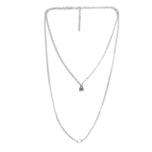 Punk Double Layer Silver Lock Chain Pendant Choker Necklace Jewelry Gift  MC