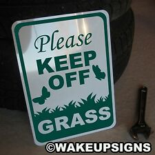 PLEASE STAY KEEP OFF THE GRASS BUTTERFLY LAWN YARD SIGN ALUMINUM 10 BY 14 METAL