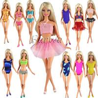 Barwa 5 Sets Swimwear Swimsuit Beach Bikini Bathing Clothes For Barbie Doll With