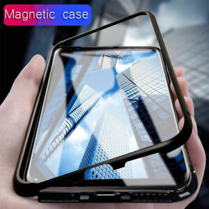 best service 669c2 0d175 For Samsung Galaxy Note 9 S9 S8 Magnetic Snap-on Metal Case Tempered ...
