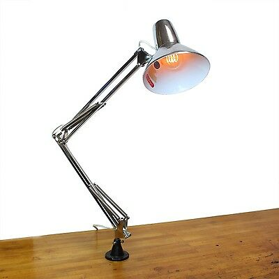 Vintage Industrial Mid Century Chrome Drafting Table Lamp