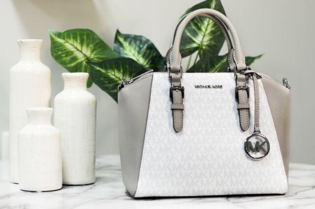Michael Kors Ciara Medium Leather Messenger Satchel Handbag Bright White Gray