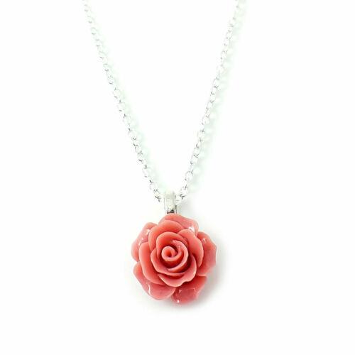 Collar Colgante Cadena De Flor Rosa para Mujer