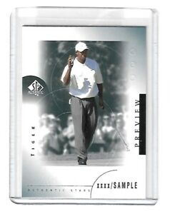Details About 2001 Upper Deck Ud Golf Sp Authentic Preview Tiger Woods Rookie Card Rc 21