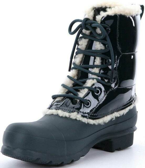 bf1152e9d7b6 New Hunter Original Patent Leather Lace Up Shearling Lined Rain Boots Ocean  US 6