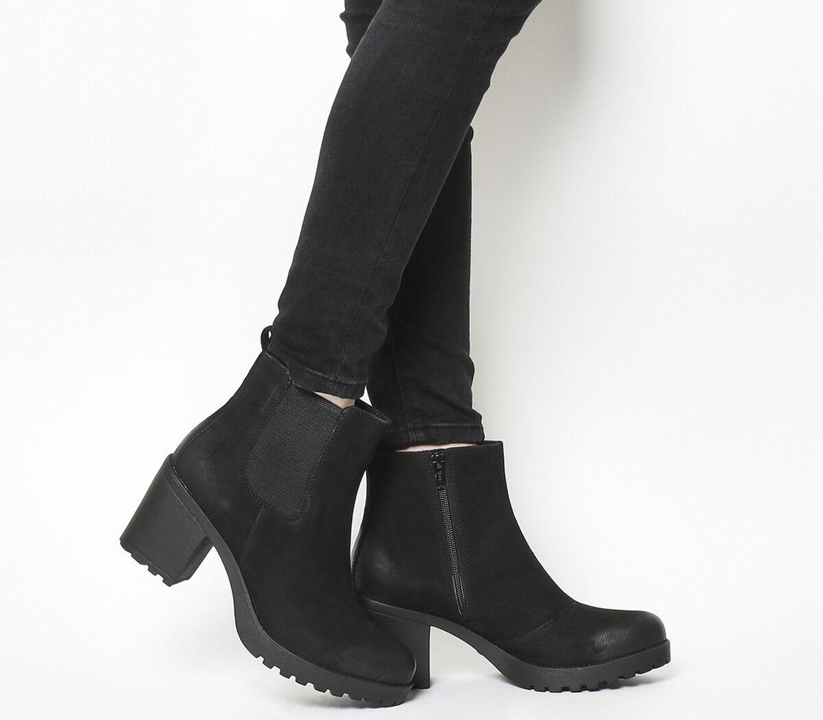 botas para mujer Vagabond Gracia Tacón Alto Negro Chelsea botas Negro Alto Nubuck aa09f6